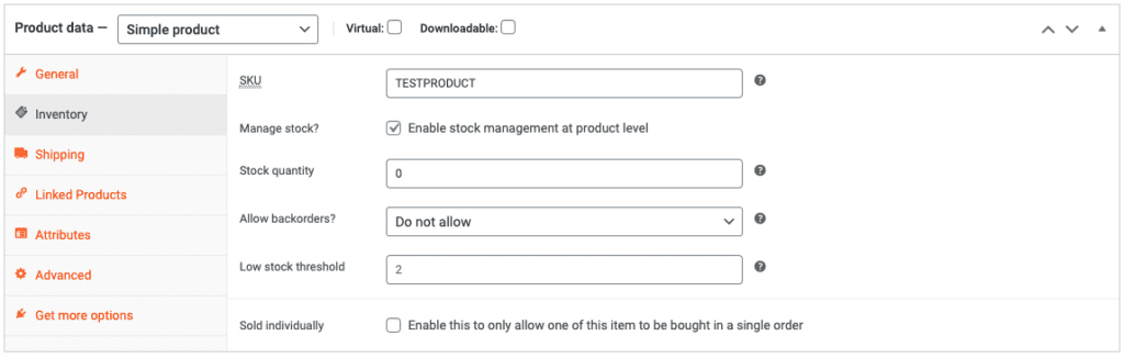 SnapSite WooCommerce Inventory Tab